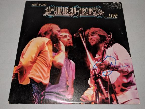 """BEE GEES BARRY GIBB signed autographed """"HERE AT LAST..LIVE"""" LP RECORD BECKETT"""