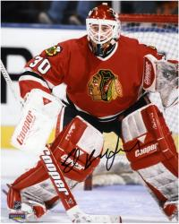 Ed Belfour Chicago Blackhawks Autographed 8'' x 10'' Blocking Goal Photograph - Mounted Memories