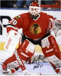 Ed Belfour Chicago Blackhawks Autographed 8'' x 10'' Blocking Goal Photograph with HOF 11 Inscription - Mounted Memories