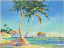 Belize (twin Palms) Original (artist Signed)