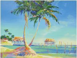 Belize (twin Palms) Original (artist Signed)