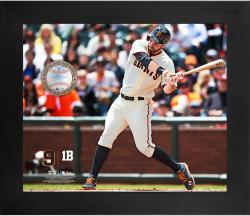 "Brandon Belt San Francisco Giants Framed 20"" x 24"" Gamebreaker Photograph with Game-Used Ball"