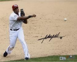 Adrian Beltre Texas Rangers Autographed 8'' x 10'' Throw With Ball Photograph - Mounted Memories