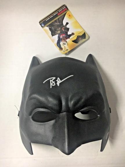 Ben Affleck Signed Batman V Superman Masks Plastic Dc Becket Bas Coa Auto D