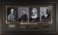 Ben Franklin American Innovators unsigned 23x38 Engraved Signature Series Leather Framed (4 photo) w/Edison/Bell/Ford (history)