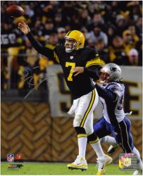 "Ben Roethlisberger Pittsburgh Steelers Autographed 8"" x 10"" Throwback Uniforms Passing Photograph"