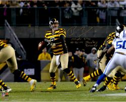 "Ben Roethlisberger Pittsburgh Steelers Autographed 16 "" x 20 "" Dropback Pass Vs. Indianapolis Colts Photograph with Steeler Record Inscriptions - Limited Edition #2-49 of 50"