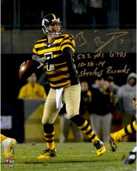 "Ben Roethlisberger Pittsburgh Steelers Autographed 8"" x 10 "" Dropback Pass Vs. Indianapolis Colts Photograph with Steeler Record Inscriptions - Limited Edition #2-49 of 50"