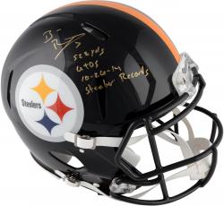 Ben Roethlisberger Pittsburgh Steelers Autographed Riddell Pro-Line Revolution Speed Helmet with Steeler Record Inscriptions - Limited Edition #2-49 of 50