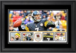 "Ben Roethlisberger Pittsburgh Steelers Framed 10"" x 18""  Panoramic with Piece of Game-Used Football - Limited Edition of 250"