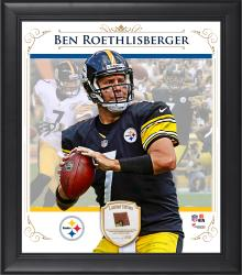 "Ben Roethlisberger Pittsburgh Steelers Framed 15"" x 17"" Composite Collage with Piece of Game-Used Football"