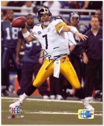 "Ben Roethlisberger Pittsburgh Steelers Super Bowl XL Autographed 8"" x 10"" Passing Photograph"