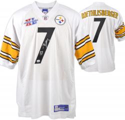 Ben Roethlisberger Pittsburgh Steelers Autographed White Jersey with Super Bowl XL Patch - Mounted Memories