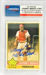 Johnny Bench Cincinnati Reds Autographed 1976 Topps #300 Card with 10 X Gold Glove Inscription