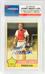 Johnny Bench Cincinnati Reds Autographed 1976 Topps #300 Card with 14 X All Star Inscription - Mounted Memories