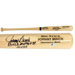 Johnny Bench Cincinnati Reds Autographed Blonde Big Stick Bat with 3 Inscription
