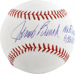 Johnny Bench Cincinnati Reds Autographed Baseball MLB Debut 8/28/67 Inscription