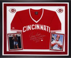 Johnny Bench Autographed Reds Jersey LE12- Multiple Inscribed, Deluxe Framed