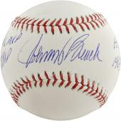 Johnny Bench Cincinnati Reds Autographed Baseball with Multiple Inscription - Mounted Memories