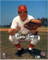 "Johnny Bench Cincinnati Reds Autographed 8"" x 10"" Catching Photograph with MVP 70 72 Inscription"