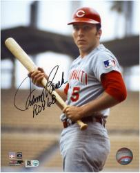 Johnny Bench Cincinnati Reds Autographed 8'' x 10'' with Bat Photograph with ROY 68 Inscription - Mounted Memories