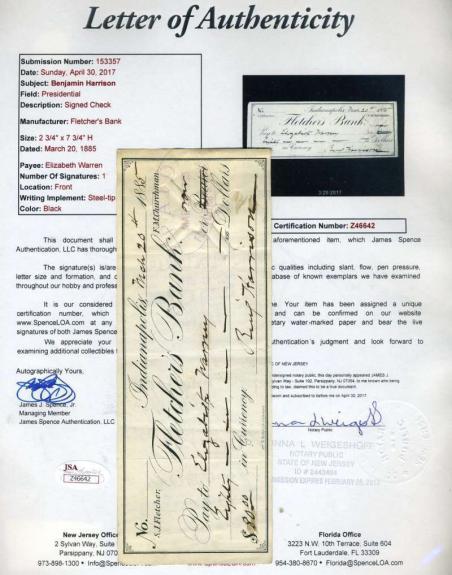 Benjamin Harrison Jsa Cert Hand Signed 1885 Check Authenticated Autograph