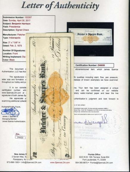 Benjamin Harrison Jsa Coa Hand Signed 1875 Check Authentic President Autograph