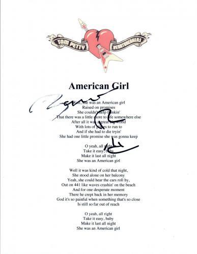 Benmont Tench Signed Tom Petty & The Heartbreakers AMERICAN GIRL Lyric Sheet COA