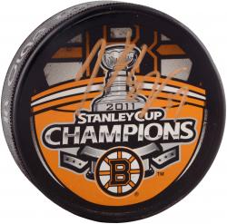 Patrice Bergeron Boston Bruins 2011 Stanley Cup Champions Autographed Stanley Cup Logo Puck