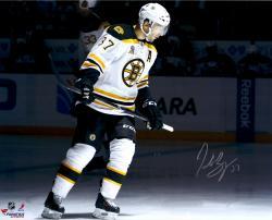 """Patrice Bergeron Boston Bruins Autographed 16"""" x 20"""" White Uniform Spotlight Photograph"""