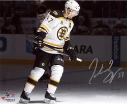 """Patrice Bergeron Boston Bruins Autographed 8"""" x 10"""" White Uniform Spotlight Photograph"""