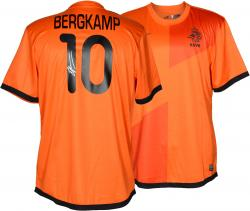 Dennis Bergkamp Autographed Jersey - Holland Orange Back Mounted Memories