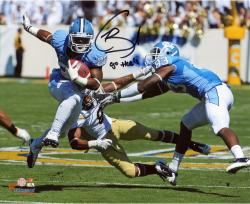 Giovani Bernard North Carolina Tar Heels Autographed 8'' x 10'' Horizontal Blue Uniform Photograph with Go Heels Inscription - Mounted Memories