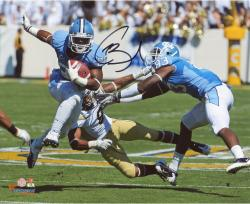 Giovani Bernard North Carolina Tar Heels Autographed 8'' x 10'' Horizontal Blue Uniform Photograph - Mounted Memories