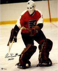 """Bernie Parent Philadelphia Flyers Autographed Mask Shot 16"""" x 20"""" Photograph with HOF 1984 Inscription"""