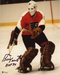 """Bernie Parent Philadelphia Flyers Autographed Mask Shot 8"""" x 10"""" Photograph with HOF 1984 Inscription"""