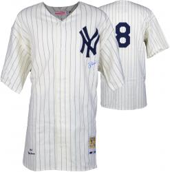 Yogi Berra New York Yankees Autographed Mitchell & Ness Home Jersey - Mounted Memories