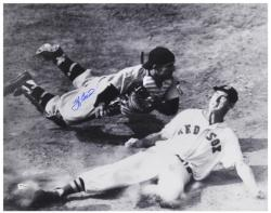 Yogi Berra New York Yankees Autographed 16'' x 20'' Slide with Ted Williams Photograph - Mounted Memories