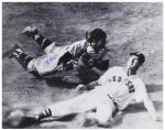 """Yogi Berra New York Yankees Autographed 16"""" x 20"""" Slide with Ted Williams Photograph"""