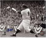 "Yogi Berra New York Yankees Autographed 8"" x 10"" Black & White Hit Photograph"