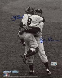 Yogi Berra & Don Larsen New York Yankees Autographed 8'' x 10'' B&W Hug Photograph - Mounted Memories
