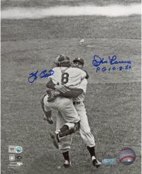 "Yogi Berra & Don Larsen New York Yankees Autographed 8"" x 10"" B&W Hug Photograph with PG 10-8-56 Inscription"