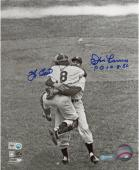 Yogi Berra & Don Larsen New York Yankees Autographed 8'' x 10'' B&W Hug Photograph with PG 10-8-56 Inscription