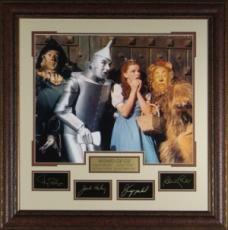 Bert Lahr unsigned Wizard of Oz 29x30 Engraved Signature Series Leather Framed w/Cast (Cowardly Lion) (entertainment/photo)