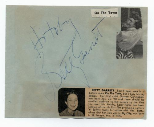 "Betty Garrett Vintage Signed Album Page- ""Laverne and Shirley"