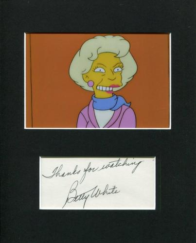 Betty White Golden Girls The Simpsons Rare Signed Autograph Photo Display
