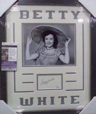 Betty White Movie Legend Jsa Coa Signed Autographed Double Matted & Framed Rare