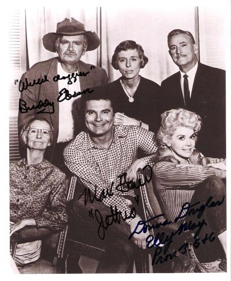 """Signed Max Baer Picture - BEVERLY HILLBILLIES"""" by BUDDY EBSEN Passed Away 2003), JR., DONNA DOUGLAS 7x9 B W"""