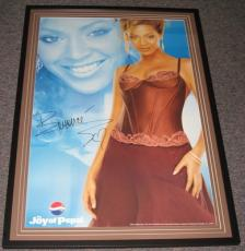 Beyonce RARE 2003 Framed 25x38 Pepsi Promotional Poster Facsimile Signed