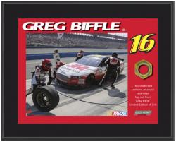 "Greg Biffle Sublimated 8"" x 10"" Plaque with Lug Nut-Limited Edition of 516"